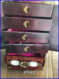 Vintage Chinese Oriental Wood and Carved Jade Jewelry Box