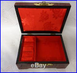 Vintage Chinese Ornate Lacquered Wood Jewelry Box