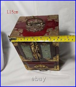 Vintage Chinese wooden jewellery box inlady Hetian Jade H22cm