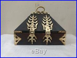 Vintage Coin Treasure Jewelry Box Dowry Brass Antique Kerala India Wooden box