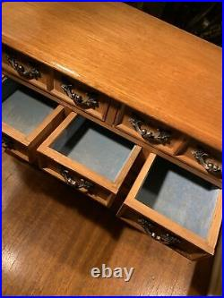 Vintage Country Large Wood Jewelry BoxChestBrass HardwareBlue Velvet Gift
