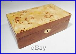 Vintage DUNHILL Italy Tiger Eye Burled Wood & Leather JEWELRY BOX