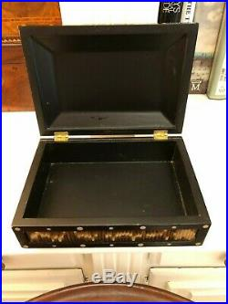 Vintage Ebony Porcupine Jewelry Trinket Quill Box Rectangular Dome Top