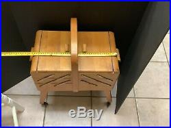 Vintage Expandable Accordion Lift Top Wood Sewing Jewelry Box