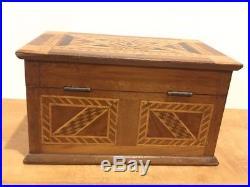 Vintage Folk Art & Marquetry box Jewelry Box Ornate Art Deco Two Tone With Key