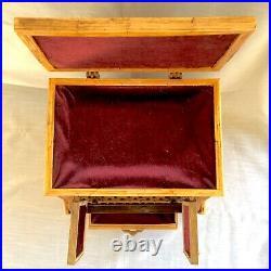Vintage Folk/Tramp Art Wood/Match Stick Piano Shaped Jewelry Box Laurie
