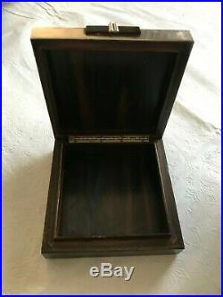 Vintage Gucci Sterling Silver Wood Jewelry Box Cigarette Case Italy
