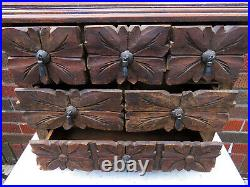 Vintage Hand Carved Jewelry 6 Drawer Storage Chest Table Top Box