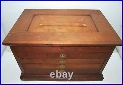 Vintage Hand-Made Wood Chest 4 Drawers Jewelry Tools Crafts Wooden Tool Box Nice