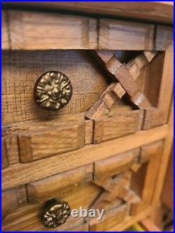 Vintage Handmade In JAPAN Wood & Metal Jewelry BOX
