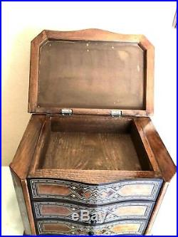 Vintage Handmade WOODEN MOSAIC Mother of Pearl wooden JEWELRY BOX WITH DRAWER