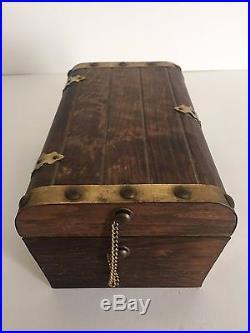 Vintage Handmade Wood Brass & Velvet Lined Treasure Chest Jewelry Box