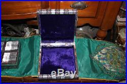 Vintage India Hindu Silver Tin Metal Book Trinket Jewelry Holder Box-Elephants
