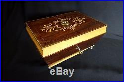 Vintage Inlaid Jewelry Sewing Box French Art Nouveau Antique Blue Silk Key