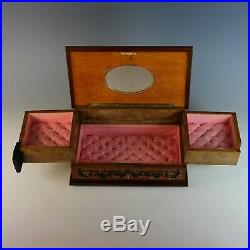Vintage Inlaid Marquetry Wood Jewelry Box with Drawers
