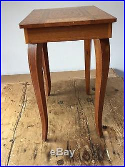 Vintage Inlaid Wood Swiss Movement Music Table Sewing Jewelry Box