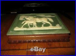 Vintage Inoclay Stone & Hand Carved Mahogany Jewelry Box Horse & Colt