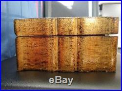 Vintage Italian Florentine Hand Made Wood Jewelry Box with Key 13x7.5x4