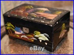 Vintage Japanese Music Jewelry Box Hand Painted Wood LAQUER Japan Scene Mt Fuji