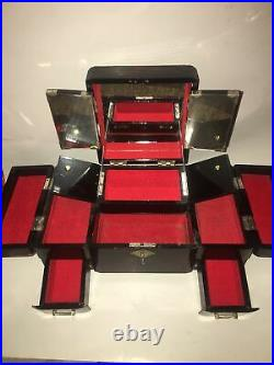 Vintage Japanese Red/Black Lacquer Wood Jewelry Music Box Hand Painted Abalone