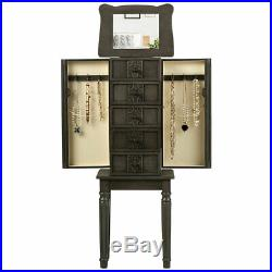Vintage Jewelry Armoire Cabinet Chest Big Home Box Organizer with Drawers Gray