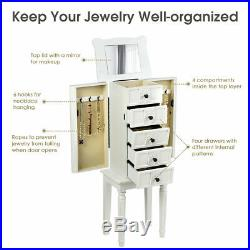 Vintage Jewelry Armoire Cabinet Chest Big Storage Box Organizer with Drawers White