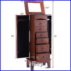 Vintage Jewelry Cabinet 6 Deep Drawers Large Wood Storage Armoire Organizer Box