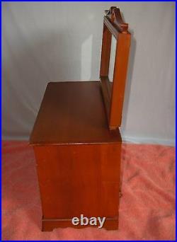 Vintage Large Early American Maple Wood DresserJewelry Music Box NICE