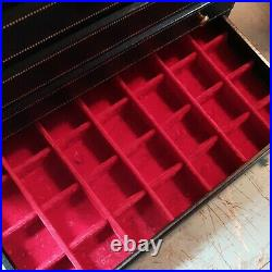 Vintage Large Leather Jewelry Box Wood Brass Handles 5 Drawer Dresser Tabletop