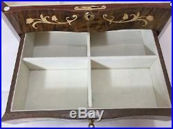 Vintage Large Rare Sorrento Inlaid Inlay Wood Jewelry Box Drawers, 15 3/8 x 10