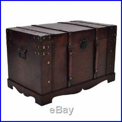 Vintage Large Wooden Treasure Chest Jewellery Box Case Pirate Antique Style New