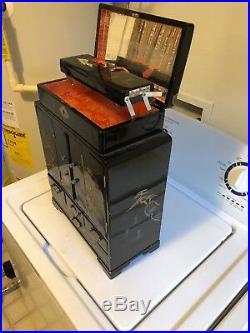Vintage Large black Japanese Wood Painted & Inlay Jewelry Music Box Oriental