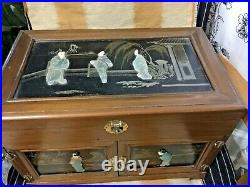 Vintage Lg Asian Chinese Oriental Wooden Jade Inlay People Jewelry Trinket Box