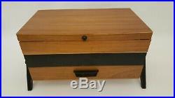 Vintage MID Century Modern Nahkasten Wood Expandable Sewing Jewelry Box Germany