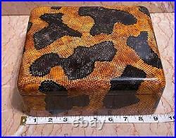 Vintage Maitland-Smith Wood Jewelry Trinket Box! Ultra Rare Faux Python Snake