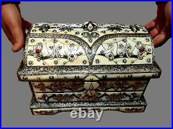 Vintage Moroccan Berber Handmade Large Treasure Chest Jewellery Box