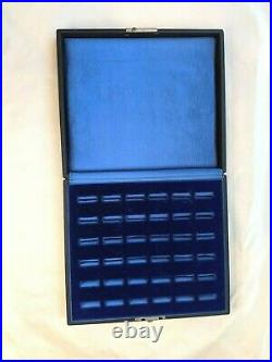 Vintage Multi Ring Box Display Case Blue Velvet Great For Antique Ring Storage