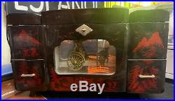 Vintage Music Jewelry Box Japanese Geisha Carriage Scene Laquer Wood Mirror