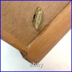 Vintage Musical Jewelry Box Dark Grain Wood Retro Yellow Felt Drawers Large Rare