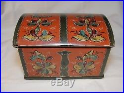 Vintage Norwegian Telemark Style Rosmal Small Wooden Trunk Jewelry Box 1951