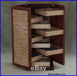 Vintage OOK Ingenious Artist handmade Exotic Wood Jewelry Cabinet box Amish