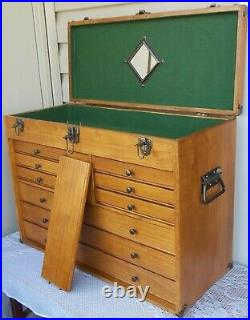 Vintage Oak Wood Machinist Tool Chest / Jewelry Box 10 Drawers & Lift Up Lid