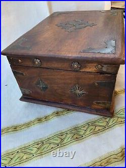 Vintage Old Box Wooden Brass Fitted Handcrafted BoxJewelryLetterValetGift