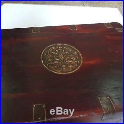 Vintage Old Teak Wood Handmade Merchant Cash/jewelry Box with Brass Design Lock