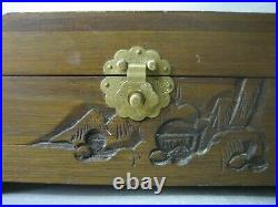 Vintage Oriental carved wooden makeup case / jewelry box
