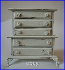 Vintage Painted Wood Chest Jewelry Trinket Box