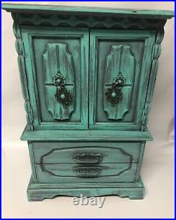 Vintage Painted Wood Jewelry Box Chest Armoire 6 Drawers 2 Doors Velvet Interior