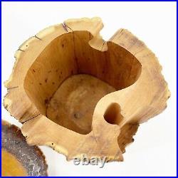 Vintage Real Cedar Trunk Handmade Wood Puzzle Jewelry Box Wood Tree