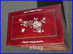 Vintage Rosewood Asian Jewelry Box Storage Cabinet with Mother of Pearl Inlay