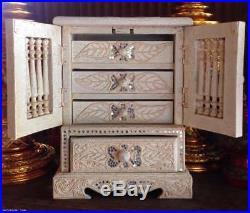 Vintage Small Teak Wood Cabinet Craft Treasure Chest Handmade Carved Jewelry Box